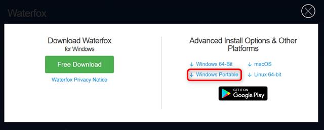 Waterfox公式サイトDLページ2